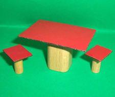 VINTAGE DOLLS HOUSE DOL TOI RUTLAND KITCHEN TABLE AND STOOLS