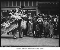 china in 1930s | Chinese Lion Dance on Seventh Avenue South, Seattle, ca. 1930