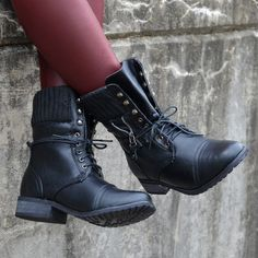 RESTOCKED TODAY!!! Castle Rock Black Sweater Cuffed Combat Boot | Amazing Lace