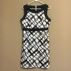 White & Black Patterned Dress This white be black patterned dress is classy and perfect for any event. It was only worn once for 2.5 hours, so it is in great condition. *Offers Accepted* Maurices Dresses