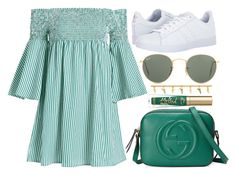 """street style"" by sisaez ❤ liked on Polyvore featuring adidas, Ray-Ban, Gucci and Too Faced Cosmetics"