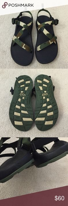 Chaco. Z Ecotread. Camo. Excellent condition, worn once! Size 6 in kids which would best fit size 7.5/8 in women.   no trades ✖️ no holds  offers considered through the offer button ♻️ if it's listed, it's available Chacos Shoes Sandals