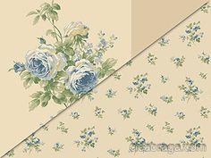 Ciça Braga - Papel de parede   Papel de Parede Vinílico Casabella York (Americano) - Listra Floral Rosas (Tons de Bege/ Tons de Azul/ Tons de Verde) - COLA INCLUSA   - Combinação com CBL-C0767