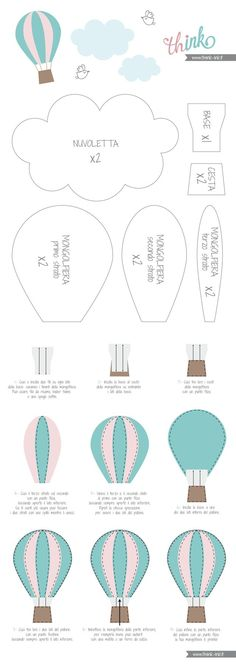 Pattern for baby mobile hot air balloons Baby Crafts, Felt Crafts, Diy And Crafts, Crafts For Kids, Felt Templates, Applique Templates, Applique Patterns, Card Templates, Air Ballon
