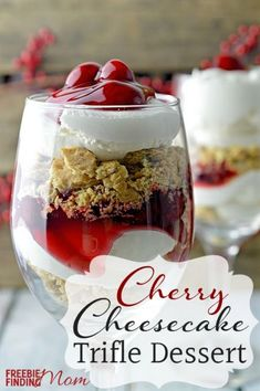 Layers of crumbled graham crackers, whipped cream and cherry pie filling make this delicious Cherry Cheesecake Trifle Dessert easy to prepare but impressive to serve.