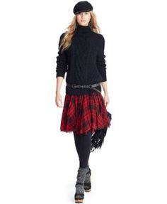 Polo Ralph Lauren Cabled Turtleneck Sweater & Silk Printed Plaid Skirt