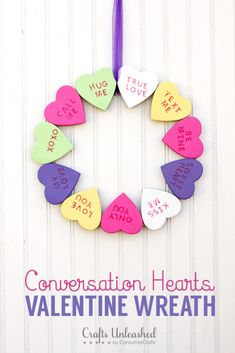 Easy to make this super cute Conversation Heart Wreath for Valentine's Day!