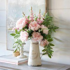 Summer Flower Arrangements, Silk Floral Arrangements, Vase Arrangements, Beautiful Flower Arrangements, Floral Centerpieces, Floral Bouquets, Birthday Flower Arrangements, Peony Arrangement, Floral Decorations