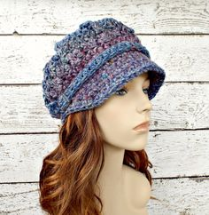 Crochet Hat Womens Hat - Spring Monarch Ribbed Crochet Newsboy Hat Heather Tweed Blue Crochet Hat - Ready To Ship - Womens Accessories by pixiebell on Etsy