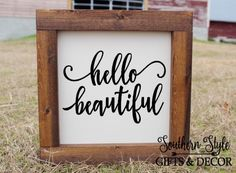 Hello Beautiful Hello Handsome Wooded Frame Sign Farmhouse Country Decor Rustic Wood Sign Bedroom Bathroom Wedding His and Hers by SouthernStyleDecor1 on Etsy https://www.etsy.com/listing/509982887/hello-beautiful-hello-handsome-wooded