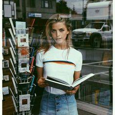 70s Fashion | Graphic T-Shirt | Rainbow Stripe | Denim Mini Skirt | Record Store | Vintage Fashion