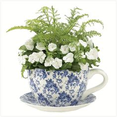 Blue Floral pattern Tea cup planter - Planting Pot w/saucer Tea Cup Planter, Planter Pots, Deco Floral, Floral Motif, Floral Prints, Tea Cup Saucer, Tea Cups, Storybook Gardens, China Tea Sets