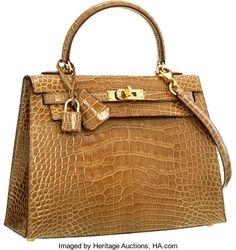 Luxury Accessories:Bags, Hermes Shiny Ficelle Alligator Sellier Kelly Bag with. Hermes Bags, Hermes Handbags, Hermes Birkin, Birkin 25, Sac Hermes Kelly, Birken Bag, Discount Designer Handbags, Designer Bags, Cross Shoulder Bags