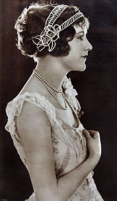 Such a beautiful outfit from the year 1920s ... luv the way the hair and headdress is!