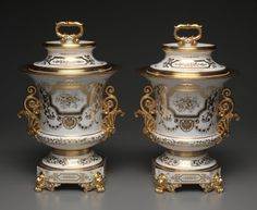 Pair of White and Gold Covered Ice Cream Pails., c. 1840      Factory of Jacob-Petit (French, 1830-1865)      gilt porcelain, Overall - h:42.50 w:27.30 d:27.00 cm (h:16 11/16 w:10 11/16 d:10 5/8 inches).