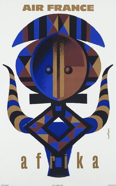 Air France - Africa vintage airlines travel poster by Jacques Nathan Garamond 1960
