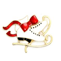 Christmas skates brooches gifts  Christmas Brooches Pin Snowman Brooch Gold Crystal Jewelry #45