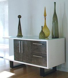Contemporary Greco Credenza Combines White and Wood Finish, storage and display