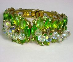 Vintage Juliana D & E Peridot Rhinestone Clamper Bracelet - available at The Vintage Jewelry Boutique on Ruby Lane