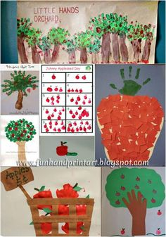 Handprint & Fingerprint Apple Crafts {Johnny Appleseed Day} - Pinned by @PediaStaff – Please Visit  ht.ly/63sNt for all our pediatric therapy pins