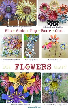 DIY Tin Can Flowers.  Want to make some simple flowers to adorn up cycled garden projects... Like making the little yello watering can into a bird house!