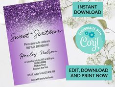 Purple Lavender Glitter Confetti Sparkle Sweet 16 Invitation #103 | Digital INSTANT DOWNLOAD Editable Invite | Personalized | Birthday by PurplePaperGraphics on Etsy Hanging Mason Jars, Ball Mason Jars, Sweet 16 Invitations, Digital Invitations, Camera Clip Art, Thank You Printable, Edit Online, Glitter Confetti, Sweet 16 Parties