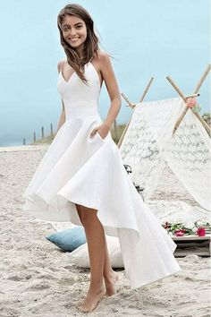 Simple Spaghetti Straps V-neck High Low Short Prom Dress,Beach Wedding Dress,N562
