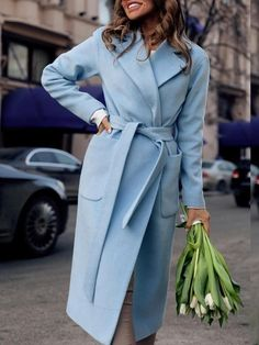 7bb6243e290db New Light Blue Pockets Sashes Turndown Collar Long Sleeve Going out Wool  Coat