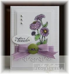 beautiful card, lavender, green and white by Silke Ledlow Flourishes llc