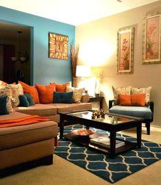 Brown And Orange Living Room Decor ...