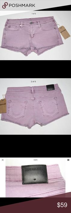 TRUE RELIGION JOEY CUT OFF DENIM SHORTS LAVENDER Authentic True Religion Joey Cutoff Denim Shorts in Lavender (Purple) Wash  $158 retail price  Description  Signature low rise cut-off short - the Joey by True Religion. A body hugging fit for a flattering look from all angles. Style these statement shorts with cutout heels or platform sandals for an incredible leg lengthening look.  Cut-off denim short Low rise waist Zip fly Made in the USA Style Number: Wdkc213s01 Measurements 27: Waist…