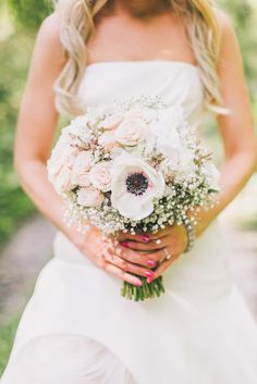 #Bouquet #Roses #Anemone | See more of this DIY wedding on SMP - http://www.StyleMePretty.com/canada-weddings/manitoba/winnipeg/2014/01/21/diy-vintage-wedding-in-winnipeg-manitoba-canada/ Rachwal Photograph