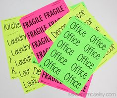I'm sharing my best moving and packing tips with you! Brightly colored labels for your boxes and furniture and a checklist for all the places to change your address.