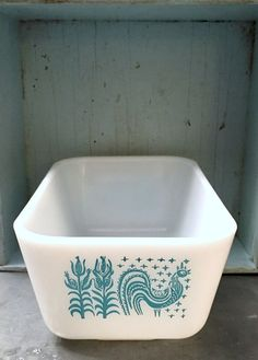 Vintage Pyrex, Amish Pyrex, Butterprint Pyrex, Pyrex Refrigerator Dish, Pyrex Fridgie, 502 Turquoise Pyrex, Vintage Turquoise Pyrex