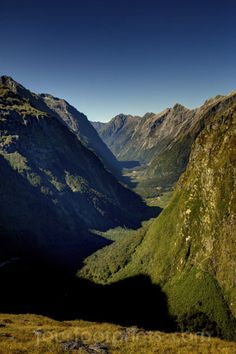 Looking down from The Mackinnon Pass, The Milford Track, New Zealand.