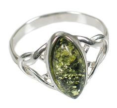 Green Amber Celtic Ring: Made in Poland from 100% Baltic amber mined in Russia or Lithuania, widely held to be the best in the world. Amber's ability to hold static energy has contributed to its magical reputation for attracting good fortune, healing, and luck. Every purchase helps feed the hungry!