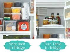 Top 58 Most Creative Home-Organizing Ideas and DIY Projects..lots of inexpensive ways to organize diff spaces in our homes; I really like the turn table and wire shelf idea for the fridge!  Super Smart!!