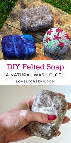 Luxury Garden Design How to felt soap, making a natural wash cloth that's great for your skin: materials required are wool, a bar of soap, and a bit of water and liquid soap Felted Wool Crafts, Needle Felting Tutorials, Diy Kit, Baby Mobile, Wool Dryer Balls, Felt Cat, Liquid Soap, Wet Felting, Running Stitch