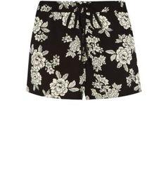 Black Floral Print Running Shorts