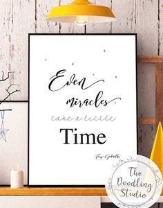 Even miracles take a little time - Fairy Godmother (Cinderella)   ------ Digital Download for Print! ------   Your download includes:  1 jpg file size A4 (8.3 x 11.7in / 210 x 297 mm) in 300dpi resolution.   #disney #fairygodmother #wallart #digitalprint