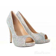 New Arrival Sheepskin Upper Stiletto Heel Peep-toe Wedding Shoes with  Rhinestones Peep Toe Wedding 2dd1766eed22