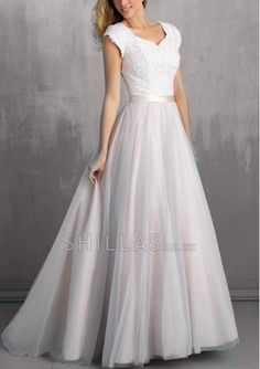 Top Of Lace Bottom Gauze Skirt With Cap Sleeve And Satin Sash - 1540552 - Wedding Dresses