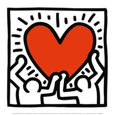 Lithograph offset poster by Keith Haring in excellent condition. Published by LEM Art Group for Estate Keith Haring. Keith Haring Kids, Keith Haring Heart, Keith Haring Poster, Keith Haring Prints, Posca Marker, Wallpaper Wall, Pop Art Artists, Haring Art, Wall Collage