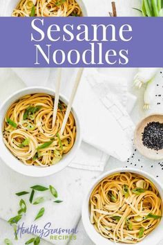 Sesame Noodles with scallions and easy toasted sesame sauce is a basic cold noodle dish for any time of year. It\'s like Chinese takeout and made from pantry staples and easy to find ingredients. Asian Recipes, Beef Recipes, Whole Food Recipes, Cooking Recipes, Pizza Recipes, Vegetable Recipes, Vegetarian Recipes, Easy Weeknight Meals, Easy Meals