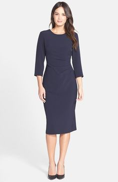 Maggy London Navy or Red Gathered Crepe Sheath Dress available at #Nordstrom