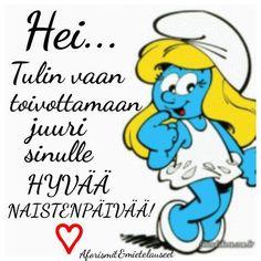 Happy Women, Ladies Day, Smurfs, Sad, Peace, Facebook, Blue, Sobriety, World