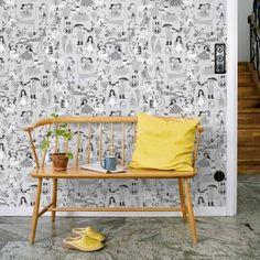 wallpaper Våra Visor gre,y design Ylva Källström-Eklund