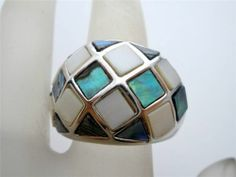Lia Sophia Mother of Pearl Checkmate Ring Size 7 Abalone Shell Inlay Estate Wide | eBay