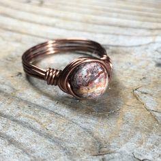 earthy bohemian Leopard Jasper stone antique copper wire wrapped ring - size 10 - gemstone jewelry men women unisex handmade by MySoulCanDance on Etsy