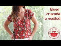 Blusa cruzada a medida, muy fácil - YouTube Sewing Tutorials, Sewing Projects, Sewing Patterns, Sewing Blouses, Wrap Dress, Short Sleeve Dresses, Plus Size, Youtube, Inspiration